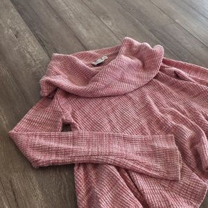 Anthro Cowl Neck Waffle Knit Crop Sweater